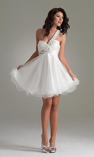 A-Line Organza One-Shoulder Short Dress