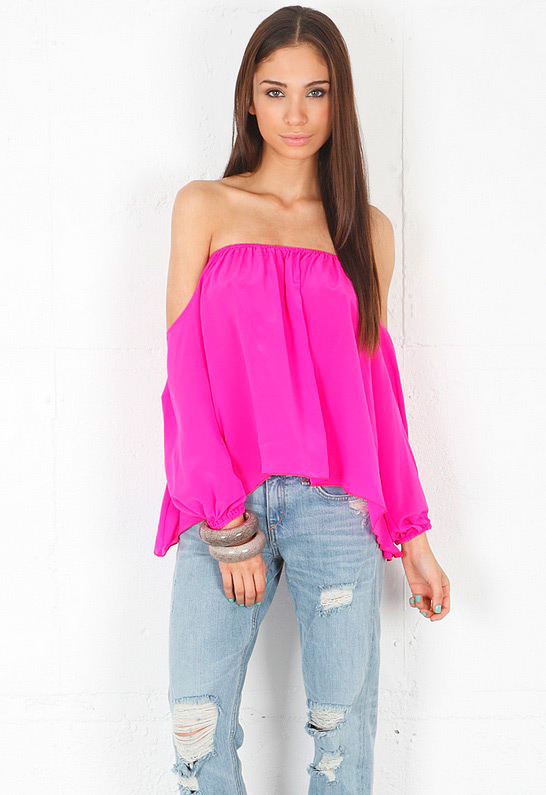Boulee Audrey Long Sleeve Top in Mixed Pink from singer22.com front (1)