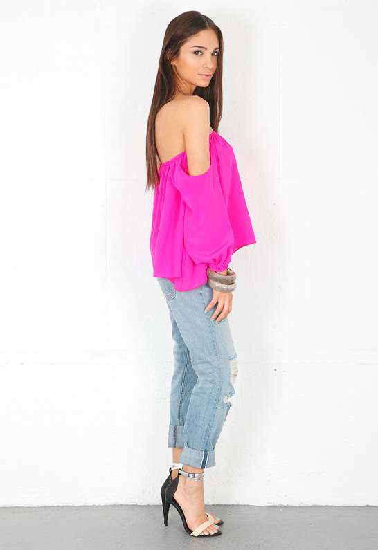 Boulee Audrey Long Sleeve Top in Mixed Pink from singer22.com  girl