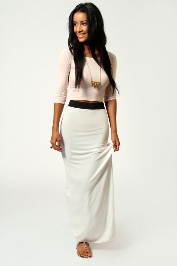 Helena Contrast Waistband Jersey Maxi Skirt - fancy-tshirts.com