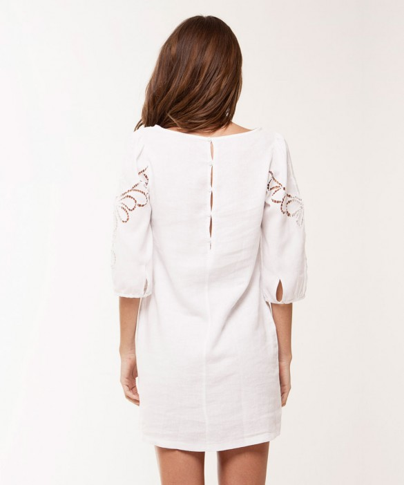 Solid White Jessey Linen Dress