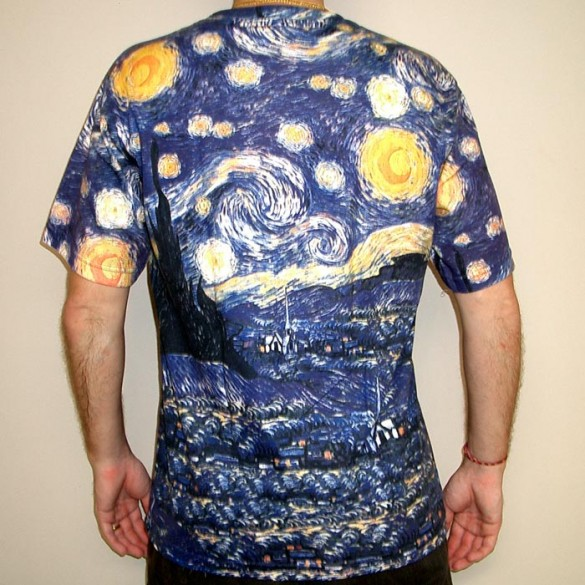 Starry Night t-shirt design by Vincent Van Gogh back