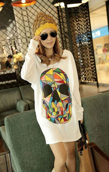 Loose Colored Skull Floral Woman Bat Sleeve Top T-shirt 2