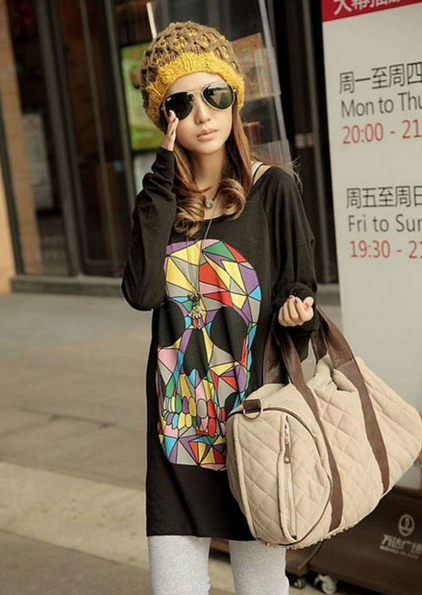 Loose Colored Skull Floral Woman Bat Sleeve Top T-shirt 3