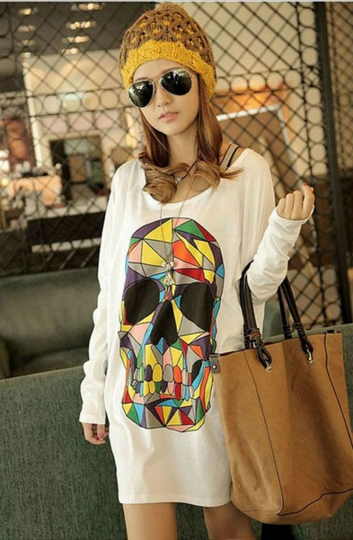 Loose Colored Skull Floral Woman Bat Sleeve Top T-shirt 4