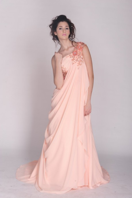 CHIFFON ONE SHOULDER HAND BEADED FLOOR LENGTH