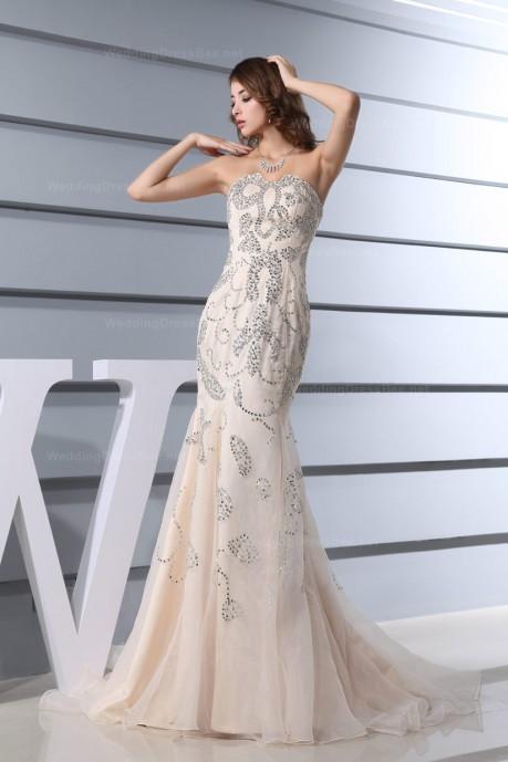 EXQUISITE SPECIAL DESIGNED NECKLINE SEQUINS PATTERN DRESS