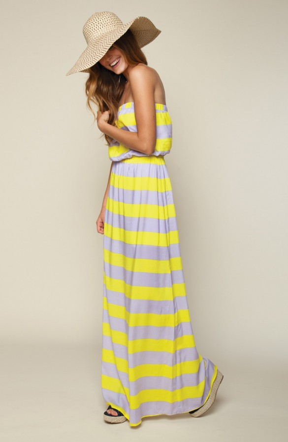 Magnolia' Stripe Strapless Maxi Dress