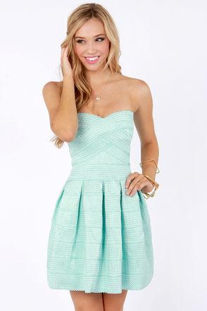 Mint Blue Bandage Dress