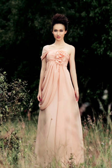 ONE SHOULDER LACE UP FLOOR LENGTH CHIFFON DRESS WITH HANDMADE