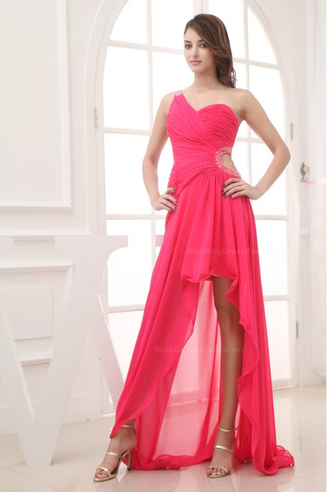 ROMANTIC SINGLE SHOULDER FULLY RUCHED HIGH-LOW