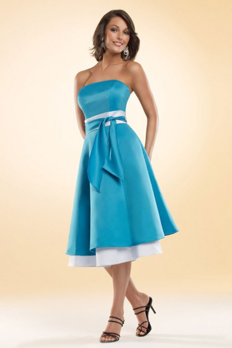 STRAPLESS A-LINE WITH ZIPPER BACK SATIN BRIDESMAID DRESS