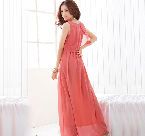 Stylish Candy Solid Full Length Casual Women Chiffon Long Tube Dress 2 Colors bac
