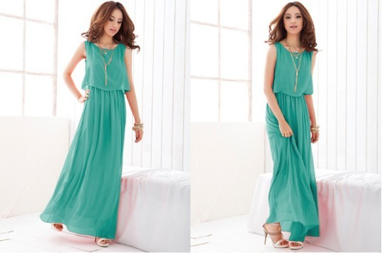 Stylish Candy Solid Full Length Casual Women Chiffon Long Tube Dress 2 Colors green 2