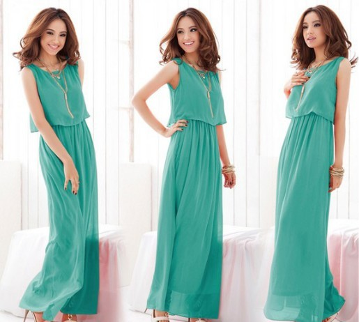 Stylish Candy Solid Full Length Casual Women Chiffon Long Tube Dress 2 Colors green