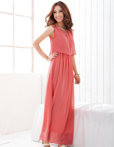 Stylish Candy Solid Full Length Casual Women Chiffon Long Tube Dress 2 Colors pink