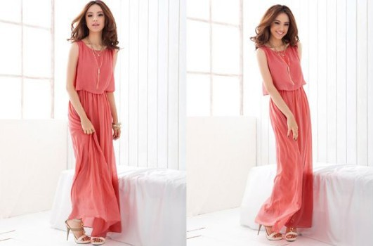 Stylish Candy Solid Full Length Casual Women Chiffon Long Tube Dress 2 Colors