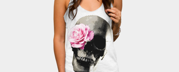 Flower Skull T-shirt Design by vansparrow woman tee main image
