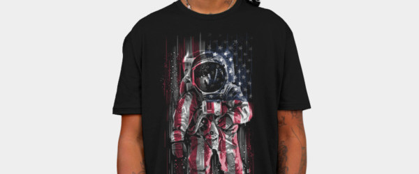 Astronaut Flag T-shirt Design by C0y0te7 man tee