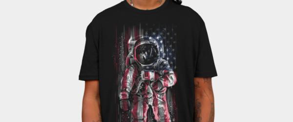Astronaut Flag T-shirt Design by C0y0te7 man tee