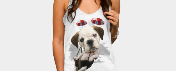 BULLDOG PARACHUTING T-shirt Design by ADAMLAWLESS woman tee main image