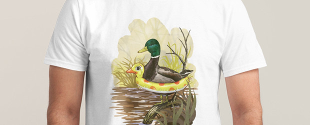 DUCK IN TRAINING T-shirt Design by Steven Rhodes man tee main image