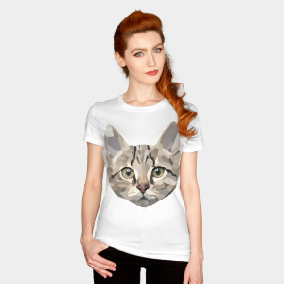 Geometric Cat T-shirt Design by billyplante woman