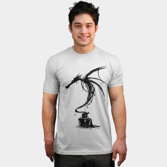 Ink Dragon T-shirt Design by alnavasord man