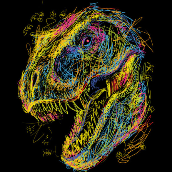 Kids Draw T-Rex tee design