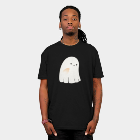 Sad Ghost T-shirt Design by kimvervuurt man