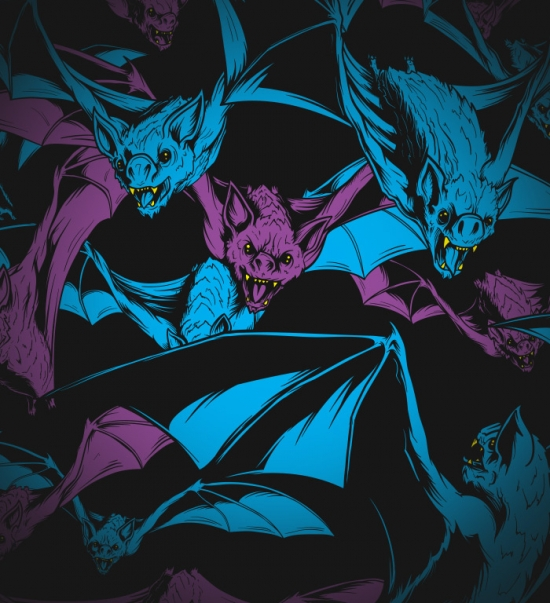 BATS! - GLOWS! T-shirt Design design