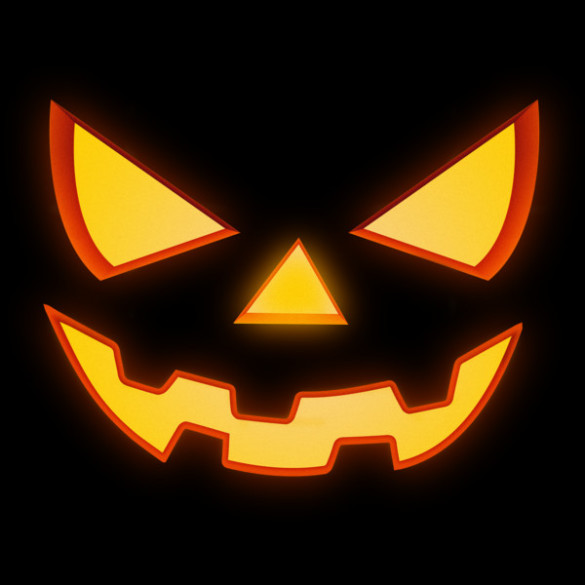 Scary Halloween Horror Pumpkin Face T-shirt Design by badbugs design