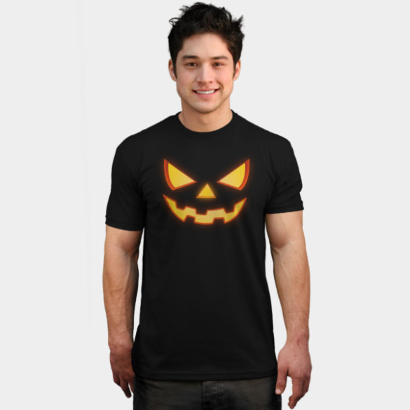 Scary Halloween Horror Pumpkin Face T-shirt Design by badbugs man tee
