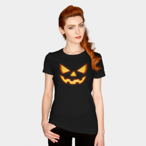 Scary Halloween Horror Pumpkin Face T-shirt Design by badbugs woman tee