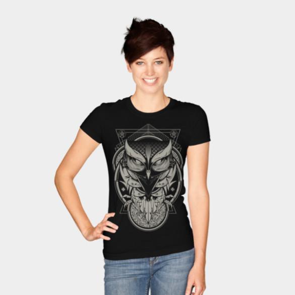 Alchemy Owl T-shirt Design by Hydro74 woman tee