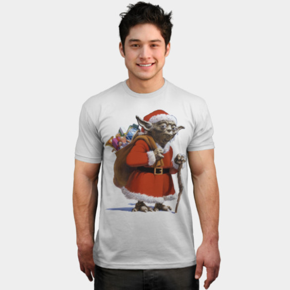 Santa Yoda T-shirt Design by StarWars t-shirt man