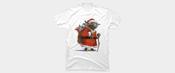 Santa Yoda T-shirt Design by StarWars tee tee design