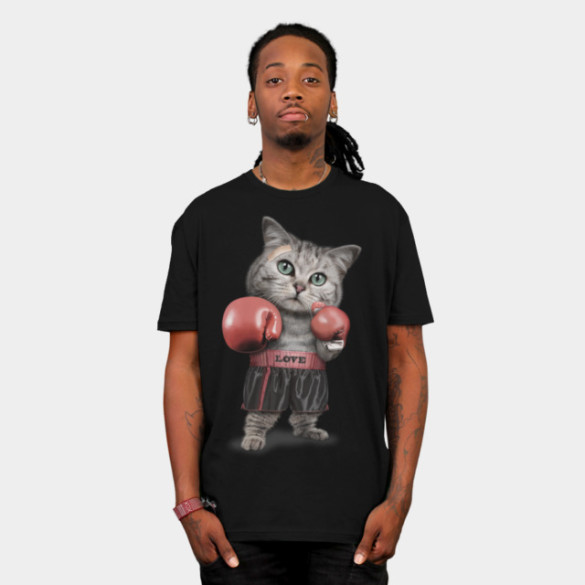 BOXING CAT T-Shirt Design by ADAMLAWLESS man tee