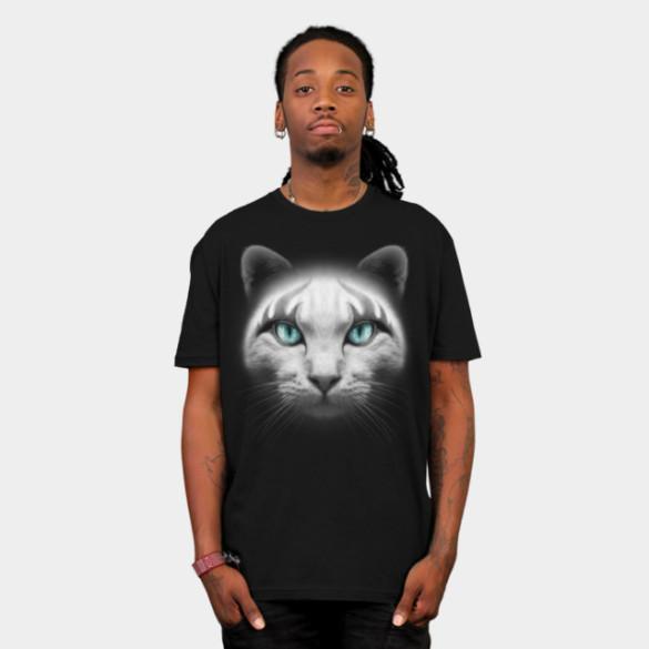 ROCKER CAT T-shirt Design by ADAMLAWLESS man t-shirt