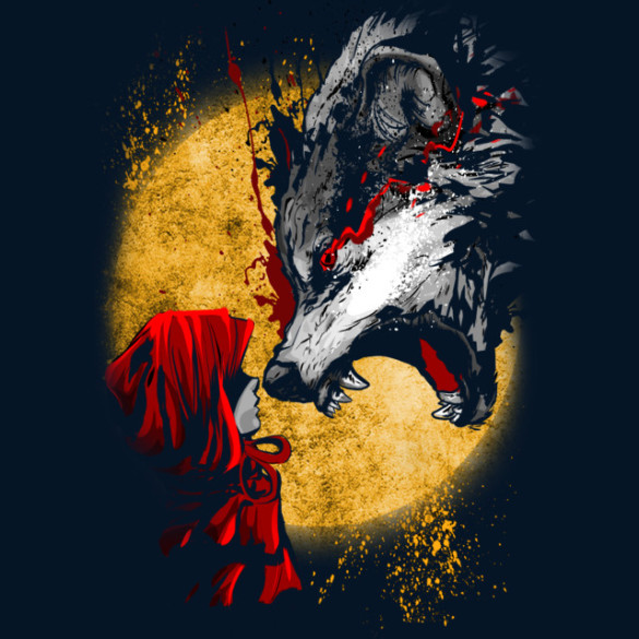 Red and Wolf T-shirt Design by artofkaan design