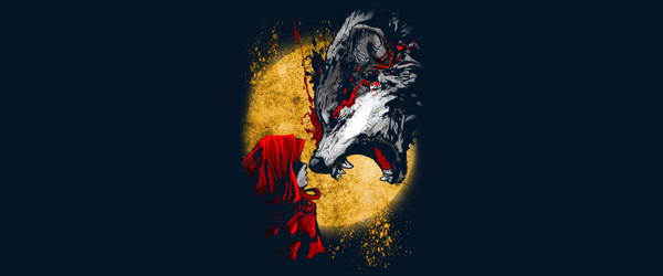 Red and Wolf T-shirt Design by artofkaan design main image