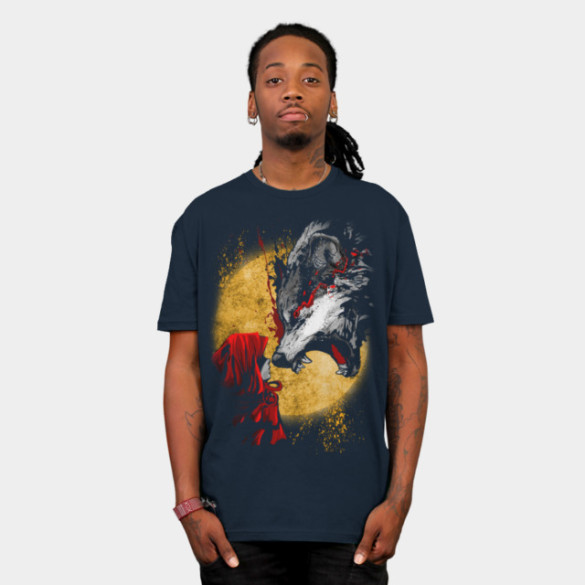 Red and Wolf T-shirt Design by artofkaan man