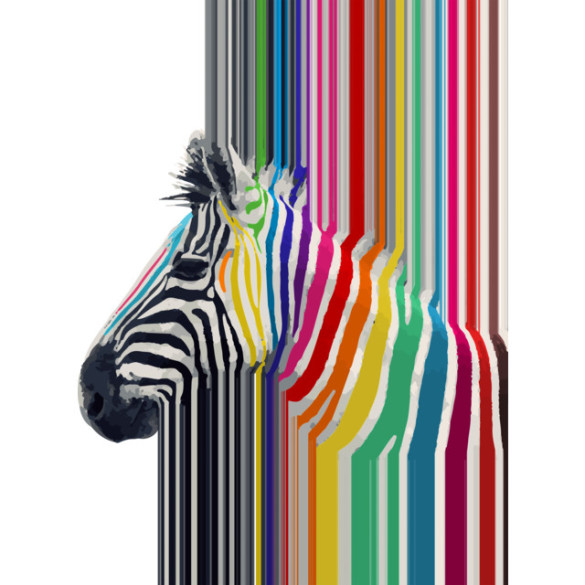 Awesome trendy colourful vibrant stripes zebra T-shirt Design by InovArts design