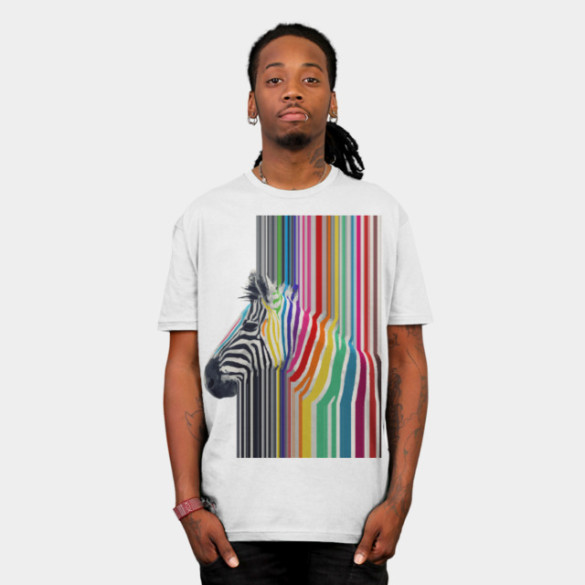 Awesome trendy colourful vibrant stripes zebra T-shirt Design by InovArts man
