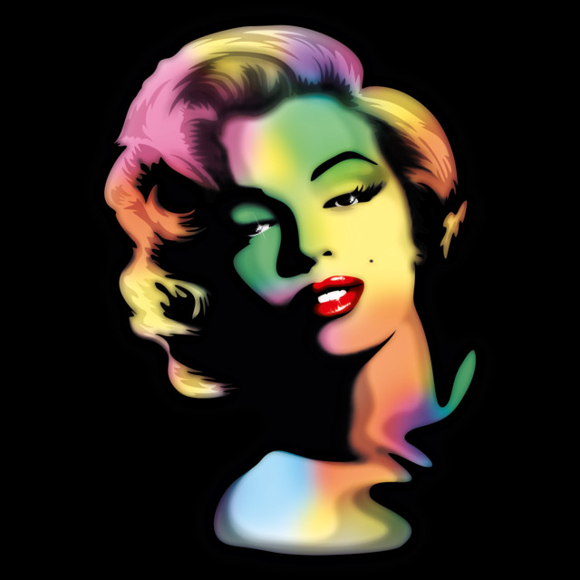 Marilyn PopArt Rainbow Colors Portrait T-shirt Design by BluedarkArt design