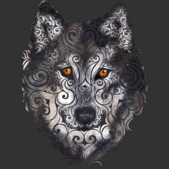 Swirly Wolf T-shirt Design by VectorInk design
