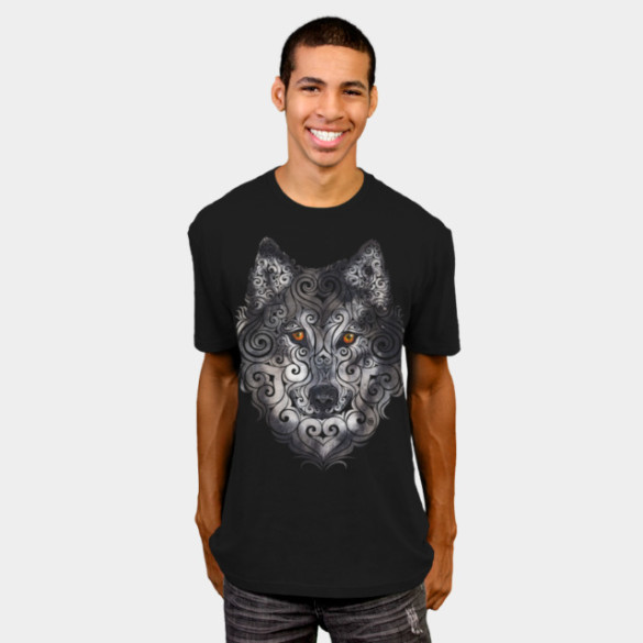 Swirly Wolf T-shirt Design by VectorInk man