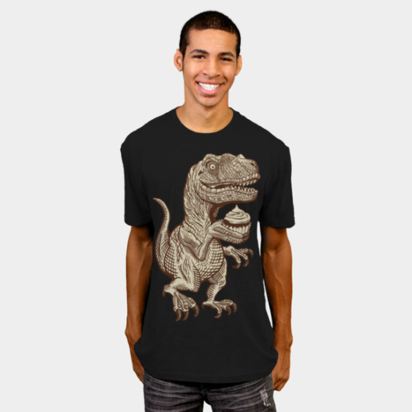 Velociraptors love cupcakes! T-shirt Design by herky man
