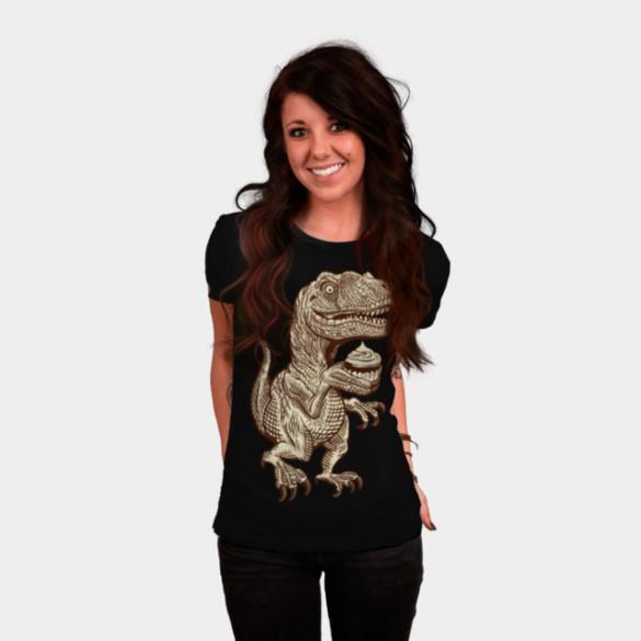 Velociraptors love cupcakes! T-shirt Design by herky woman