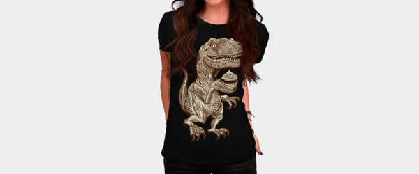 Velociraptors love cupcakes! T-shirt Design by herky woman main image
